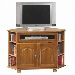 Meuble Tv Rustique : meuble tv d 39 angle ch ne 2 portes ~ Nature-et-papiers.com Idées de Décoration