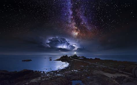 Wallpaper Landscape Sea Galaxy Nature Sky Long
