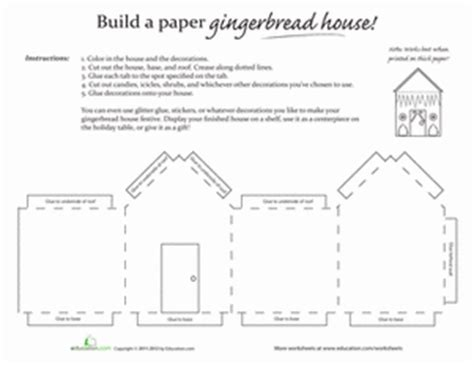 Paper Gingerbread House  Worksheet Education