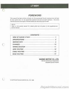 Used 1987 Suzuki Lt185h Supplemental Service Manual