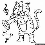 Coloring Trumpet Pages Tiger Instruments Musical Music Trumpets Heart Colouring Sheets Violin Notes Thecolor Bunny Tigers Letter Starting sketch template