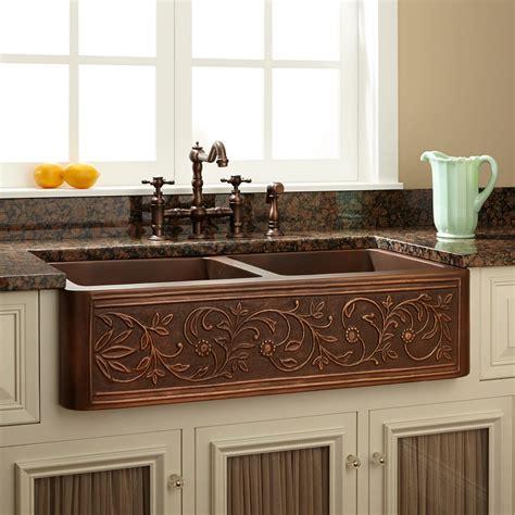 fiona hammered copper farmhouse sink kitchen  images farmhouse sink kitchen