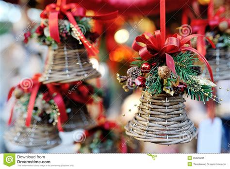christmas tree decoration bell  red ribbon stock image