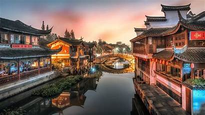 Chinese Ancient Architecture Night Town Wallpapers 4k