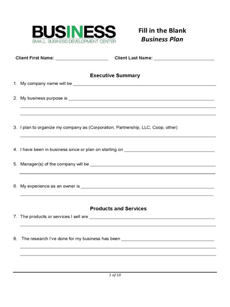 sba blank business plan form