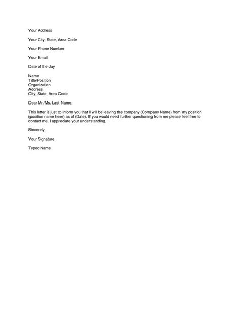 sample simple resignation letter scrumps