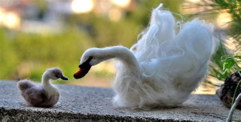 art  felting give  felted swan  ugly duckling