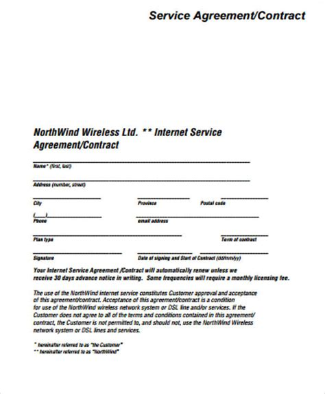 simple service contract samples  ms word