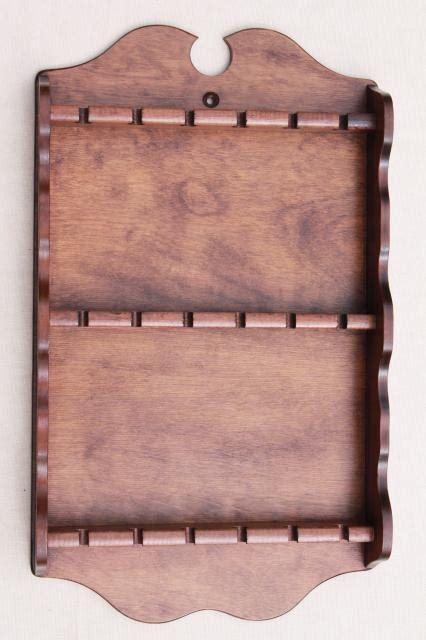 vintage wood spoon rack wall mount display  antique silver  collectors spoons