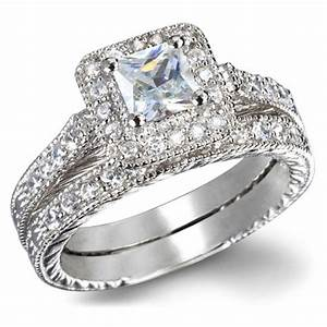 Gia certified 1 carat princess cut diamond vintage wedding for White diamond wedding ring sets