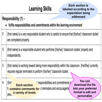 learning skills report card comments ontario grade