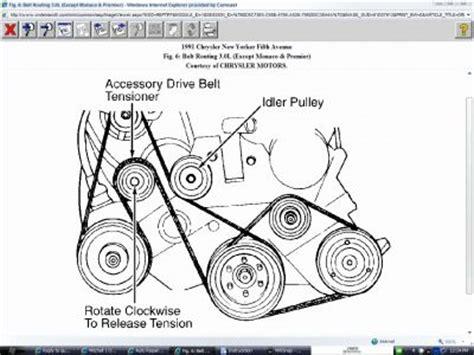 Dodge 33 Serpentine Belt Diagram by 1991 Chrysler New Yorker Serpentine Belt Engine