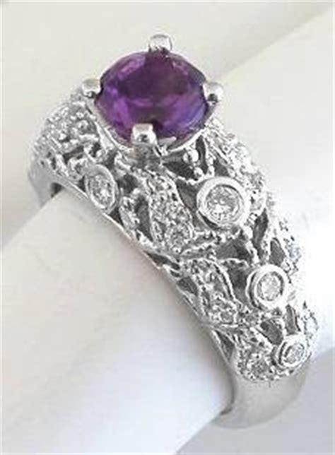 ornate vintage styled amethyst engagement ring