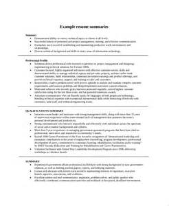 Time Resume Summary Exles by Resume Summary Exle 8 Sles In Pdf Word