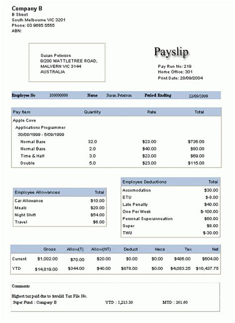 payslip templates word excel  formats