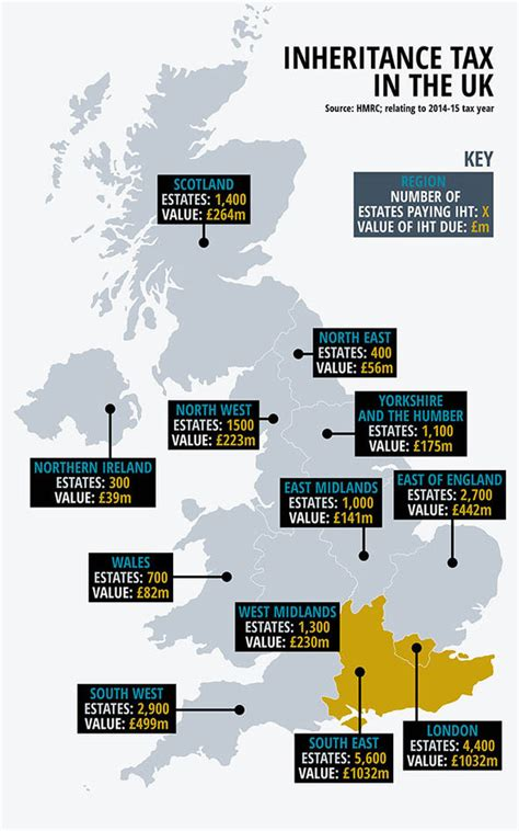 tax inheritance map death rate express grieving families hmrc areas mapped paying most regions