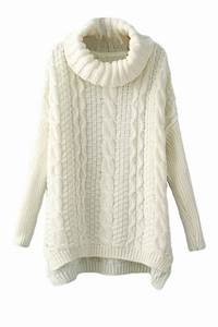 White High Neck Womens Classic Cable Knit Plain Pullover ...