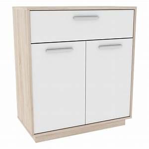 Meuble Bas 2 Portes : meuble bas 2 portes 1 tiroir emilio 76cm naturel blanc ~ Dallasstarsshop.com Idées de Décoration