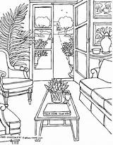 Coloring Living Rooms Adults Adult Drawings Fredgonsowskigardenhome Sheets sketch template