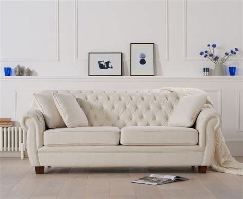 Chesterfield Fabric Sofa by Liv Chesterfield Ivory Linen Fabric 3 Seater Sofa