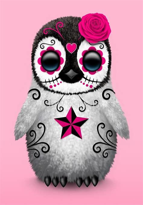 pink day   dead sugar skull penguin art prints