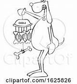 Wind Chime Coloring Pages Bone Holding Dog Cartoon Clip Royalty sketch template