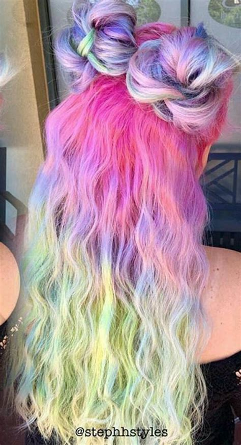 Pink Pastel Purple Rainbow Multi Ombre Dyed Hair
