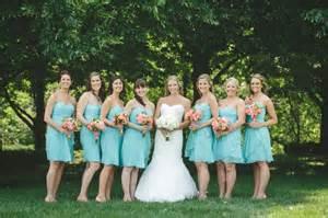 Coral and Aqua Bridesmaid Dresses