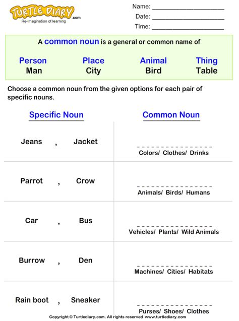 rewriting proper nouns  common noun worksheet turtle diary