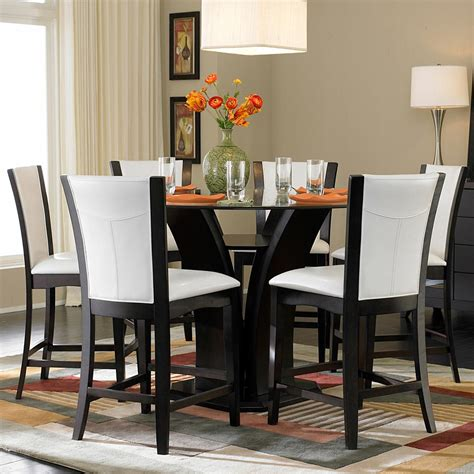7 piece pub table set homelegance 710 7 piece counter height glass top dining