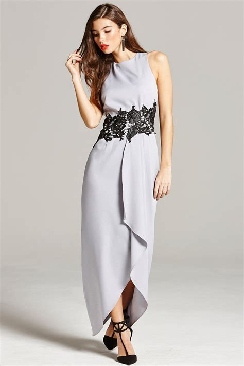 Maxi Black And Grey grey and black lace overlay maxi dress from