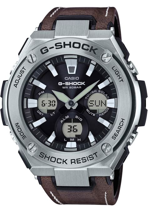 shock  steel tough leather brown silver watchescom
