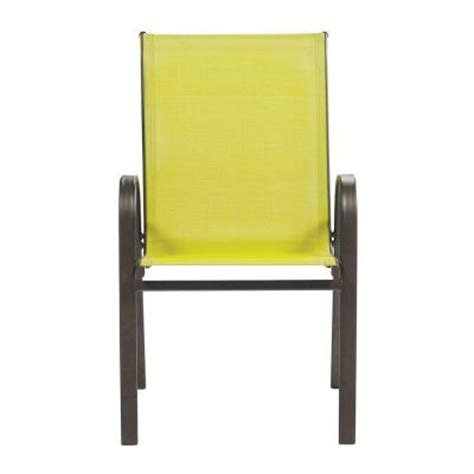Sling Stacking Chair Home Depot by Home Decorators Collection Lemongrass Patio Sling Stack