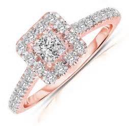 princess cut engagement rings gold half carat princess cut halo engagement ring in gold jewelocean
