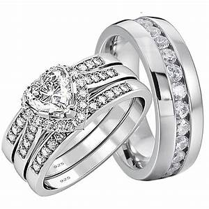 His And Hers Wedding Rings 4 Pcs Engagement Sterling