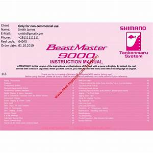 Shimano 2019 Beastmaster 9000 Download Original User