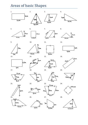 area of basic shapes worksheet ks3 by tristanjones