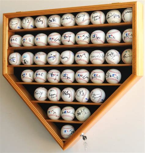baseball display case cabinet holder wall rack home plate shaped  uv protection lockable