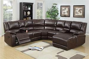 5 pcs reclining sectional brown leather sofa set With sectional couch with 2 recliners