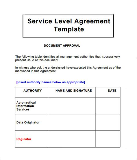 sample service level agreement templates