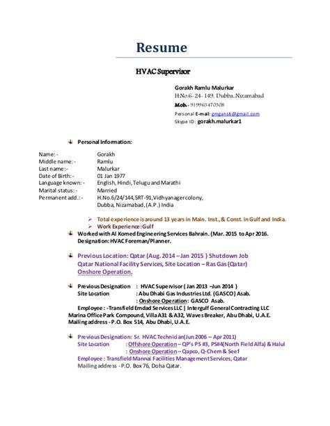 resume for hvac foreman hvac supervisor