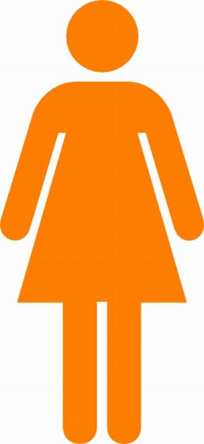 Orange Symbol Female Woman Restroom Clip Clipart