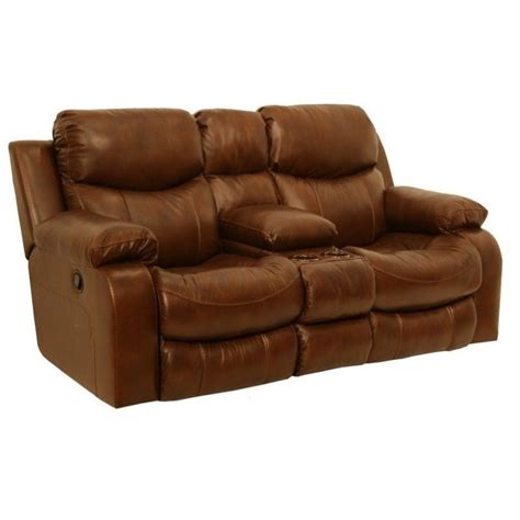 catnapper dallas leather reclining console loveseat in tobacco 4959124619304619