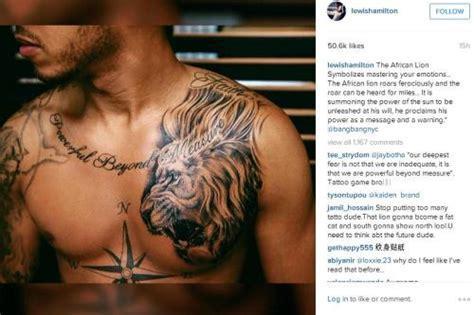 lewis hamilton  lion tattoo