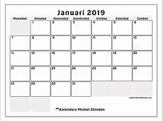 Kalenders januari 2019 MZ Michel Zbinden nl