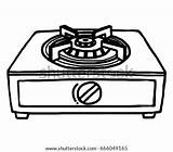 Stove Clipart Gas Cartoon Coloring Stoves Sketch Shutterstock Drawn Station Template Clipground sketch template
