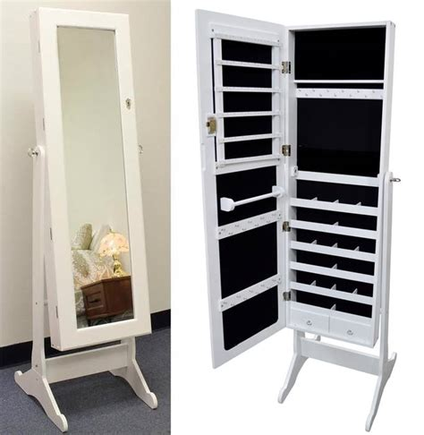 White Mirrored Jewelry Cabinet Armoire white wood mirrored jewelry armoire cabinet stand mirror