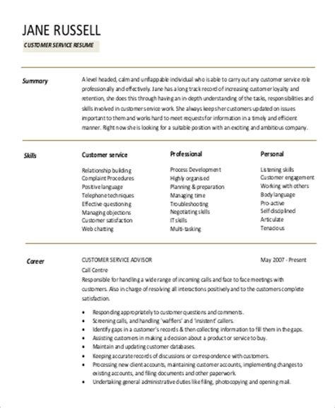 Professional Resume Summary resume professional summary exles customer service