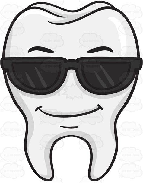 Cool Looking Tooth Wearing Sunglasses Cartoon Clipart - Vector Toons