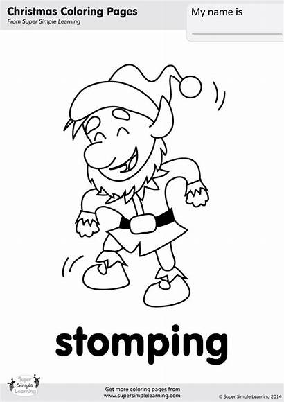 Coloring Stomping Action Verbs Simple Super Songs